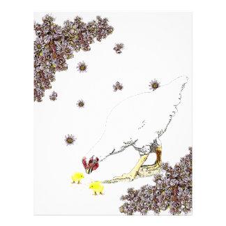 Una gallina y polluelos plantilla de membrete