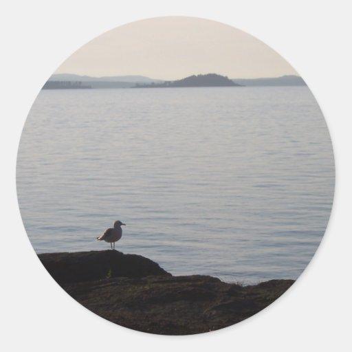 Una gaviota soña etiquetas redondas
