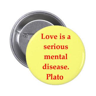 Una gran cita de Platón Pin Redondo De 2 Pulgadas