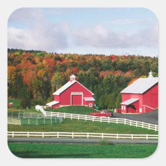 Una granja en Vermont cerca de Peacham. Pegatina Cuadrada