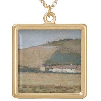 Una granja entre las colinas, Giverny, c.1887 Colgante Cuadrado