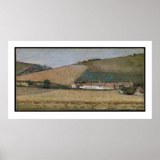 Una granja entre las colinas, Giverny, c.1887 Poster