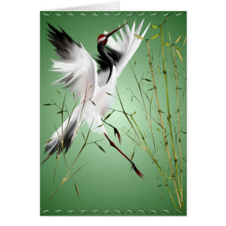 Una grúa en las tarjetas de bambú