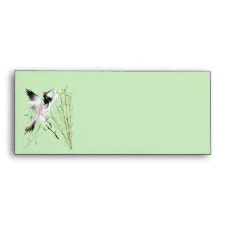 Una grúa en los sobres de bambú
