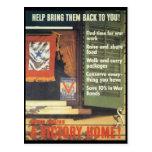Una guerra mundial del hogar de la victoria 2 tarjetas postales