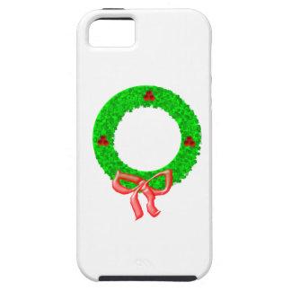 Una guirnalda del navidad con bayas y un arco iPhone 5 Case-Mate coberturas