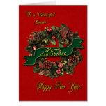 Una guirnalda festiva del navidad para su primo tarjeta de felicitación