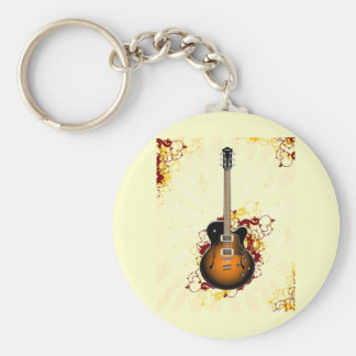 Una guitarra abstracta llavero redondo tipo pin