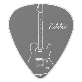 una guitarra plectro de delrin blanco
