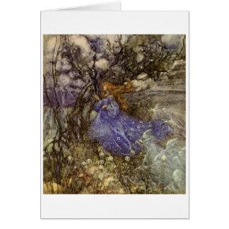 Una hada en azul tarjetas