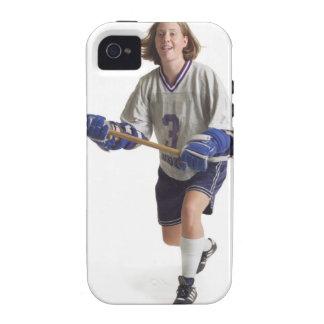 una hembra caucásica adolescente en un jersey blan iPhone 4/4S fundas