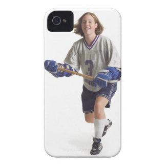 una hembra caucásica adolescente en un jersey blan Case-Mate iPhone 4 fundas