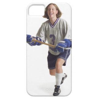 una hembra caucásica adolescente en un jersey blan iPhone 5 Case-Mate protectores