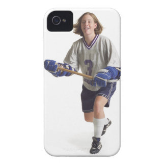 una hembra caucásica adolescente en un jersey blan Case-Mate iPhone 4 coberturas