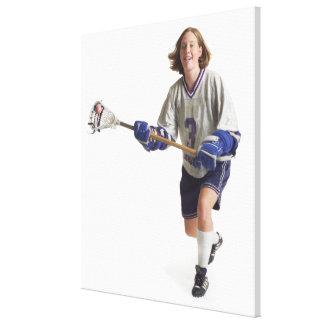 una hembra caucásica adolescente en un jersey blan impresión en lienzo estirada