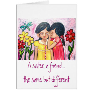 Una hermana, amigo tarjeta