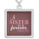 Una hermana es un collar de la plata del amigo del