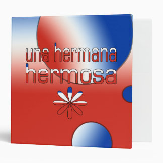 Una Hermana Hermosa Chile Flag Colors Pop Art Binder