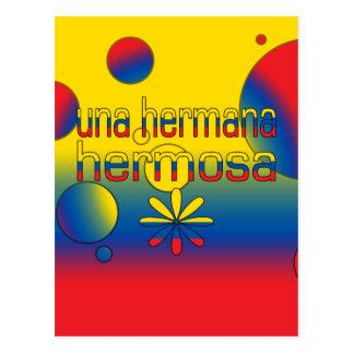 Una Hermana Hermosa Ecuador Flag Colors Pop Art Postcard