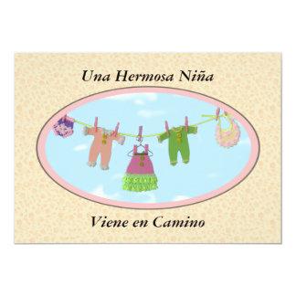 Una Hermosa niña Viene en Camino / baby shower 5x7 Paper Invitation Card