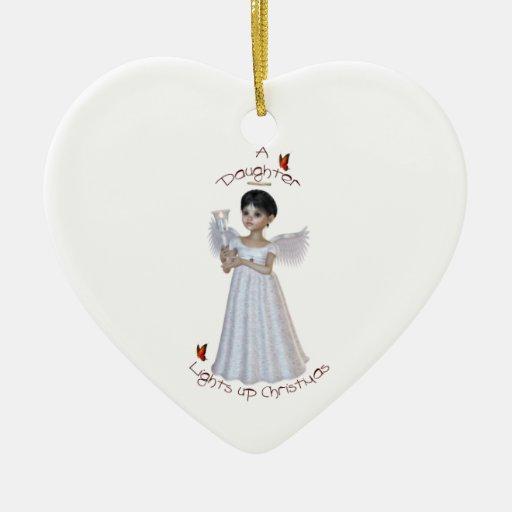 Una hija enciende para arriba navidad adorno navideño de cerámica en forma de corazón