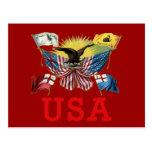 Una historia de banderas americanas en una camiset postales