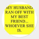 ¡una idea divertida del divorcio para usted! etiquetas redondas