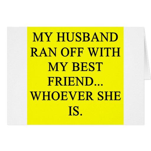 ¡una idea divertida del divorcio para usted! tarjeta de felicitación