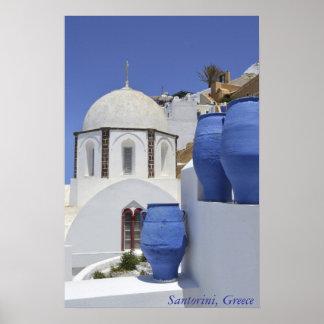 Una iglesia en Santorini, Grecia Póster