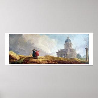 Una iglesia exhibida a un viajero en un extenso impresiones
