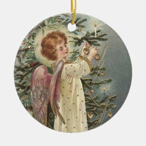 Una iluminación feliz del árbol de navidad adorno redondo de cerámica