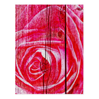 Una imagen color de rosa en un panel de madera suc tarjetas postales