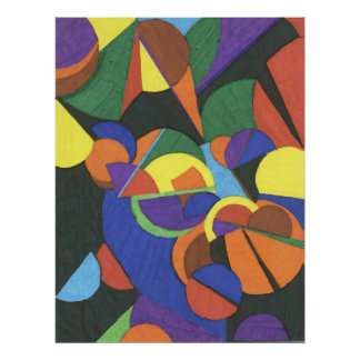 Una impresión abstracta colorida del diseño póster