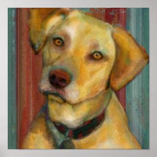 Una impresión amarilla moderna del arte del perro  poster