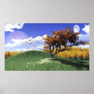 Una impresión de la colina del árbol póster