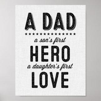Una impresión de la tipografía del papá poster