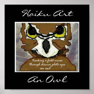 Una impresión del arte del Haiku del búho Posters