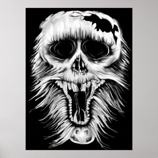 Una impresión desagradable del cráneo poster