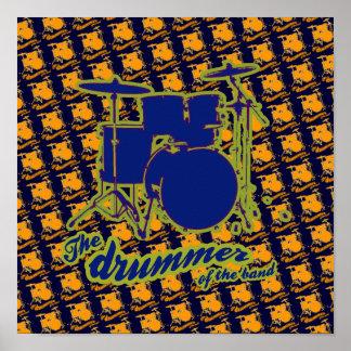 una impresión fresca de la decoración del tambor poster