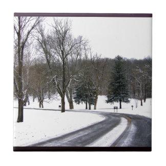 Una impulsión fría de la tarde del invierno azulejo cuadrado pequeño
