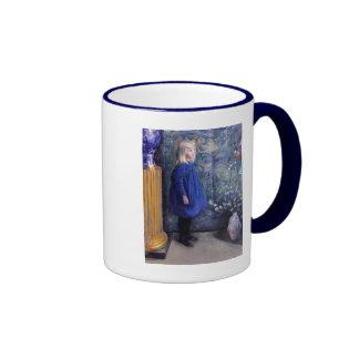 Una in Blue Dress Ringer Mug