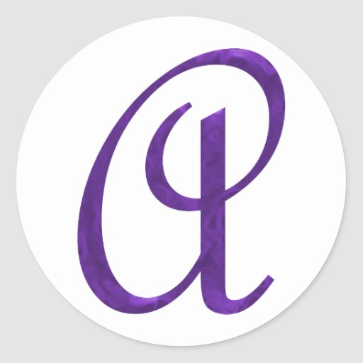 Una inicial - Spiffy púrpura azul Pegatina Redonda