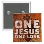 Una insignia cuadrada del botón del amor de Jesús