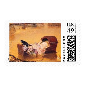 Una inundación - con el bebé y el gato por Millais Sellos