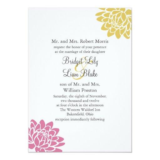 Una invitación 2 (amarillo) del boda de la flor de invitación 12,7 x 17,8 cm