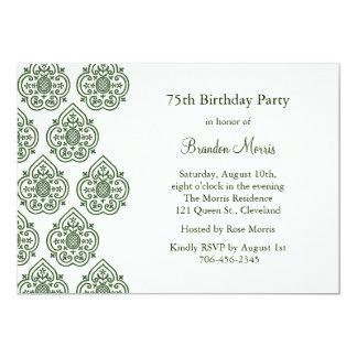 Una invitación del cumpleaños del damasco del