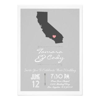 Una invitación gris elegante del boda de Californi