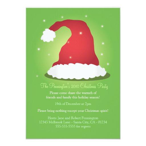 Una invitación muy feliz del gorra de Santa