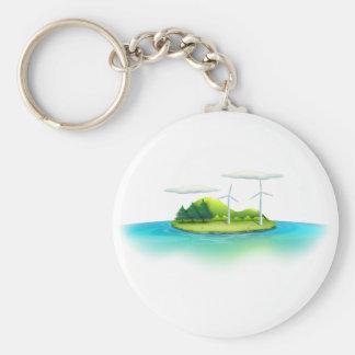 Una isla con los molinoes de viento llavero redondo tipo chapa