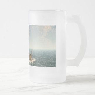 Una isla del árbol taza cristal mate